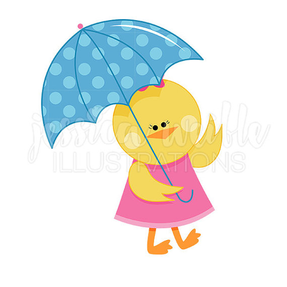 570x570 Chick With Umbrella Cute Digital Clipart Spring Rainy Day