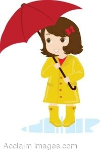 198x300 Clip Art Illustration Of A Brown Haired Girl Wearing A Yellow Rain