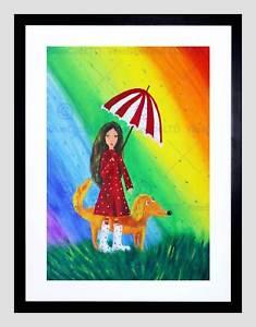 235x300 Drawing Girl Dog Rainbow Umbrella Rain Colour Red Coat Framed