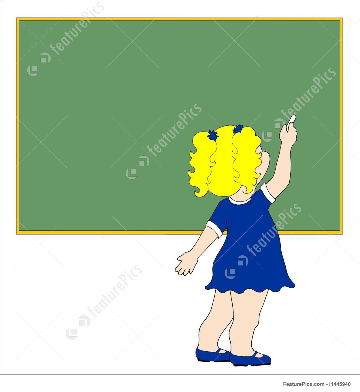 1249x1360 Girl Writing On Blank Green Chalkboard Stock Image I1445940