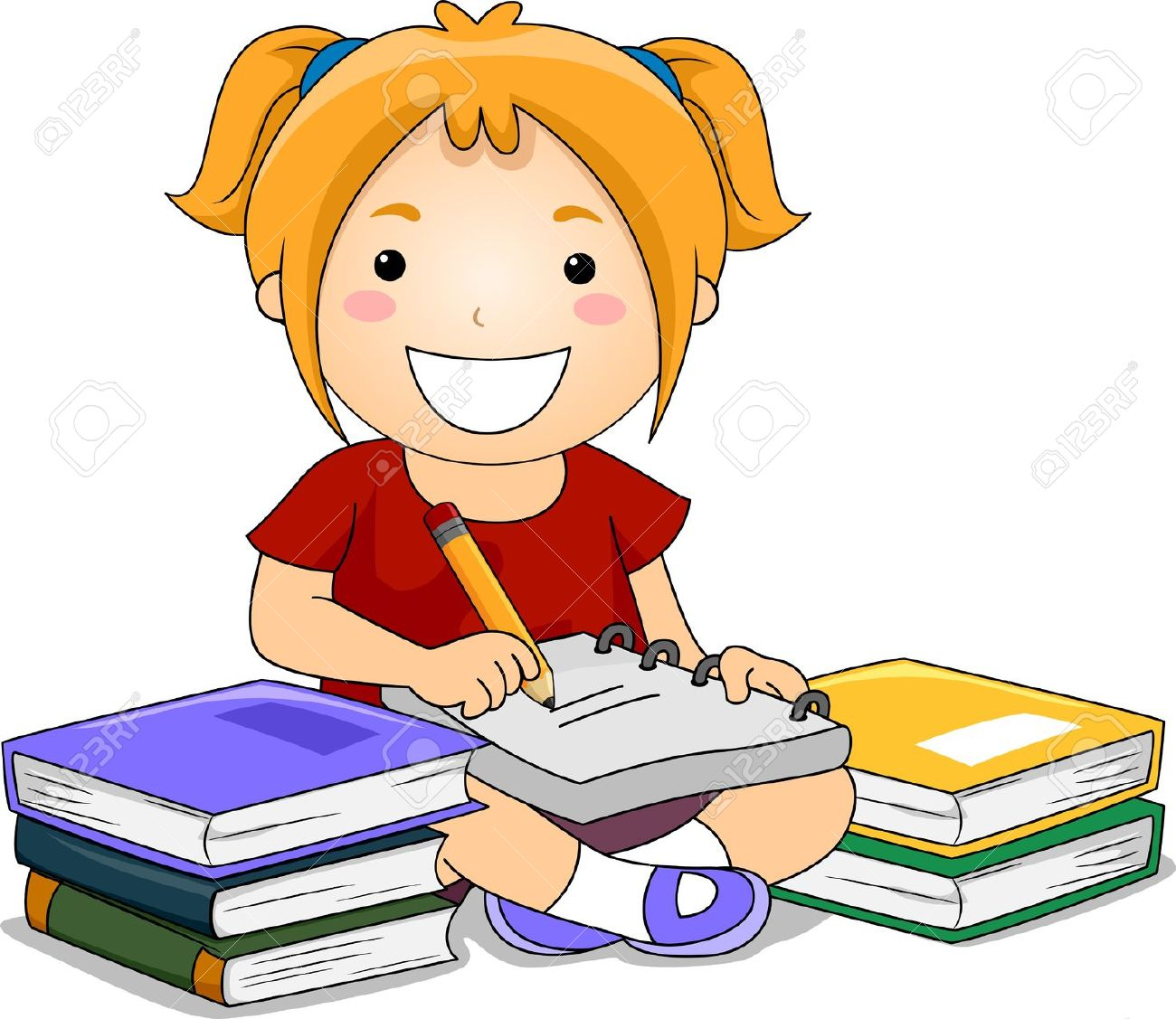 1300x1127 Illustration Of Kid Girl Writing Notes With Books On Her Side