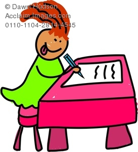273x300 Image Of A Happy Little Girl Sitting At Her School Desk And Writing