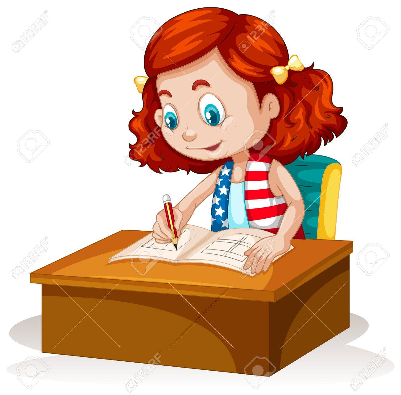 1300x1281 Little Girl Writing On The Table Illustration Royalty Free