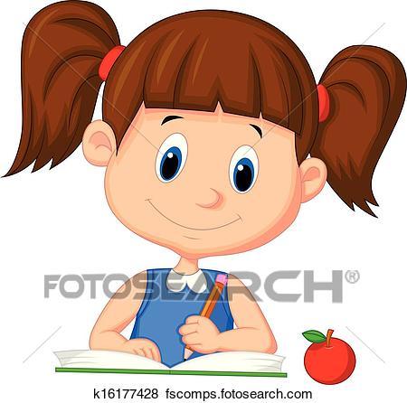 450x446 Clip Art Of Cute Cartoon Girl Writing On A Book K16177428
