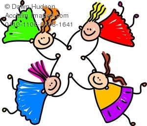 300x256 Clipart Image Of Four Happy Silly Girls Tumbling Together While