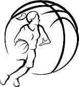 154x170 Girls Basketball Clip Art