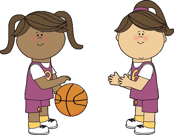 600x465 Girls Playing Basketball Clip Art