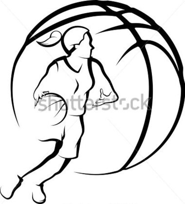 380x419 Girls Basketball Clipart Black And White