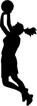 145x410 Basketball Girl Silhouette Clipart
