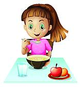 158x170 Clipart Of A Girl Eating Breakfast K19940895