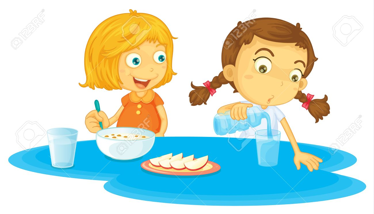 1300x744 Illustration Of Two Girls Eating Breakfasts Royalty Free Cliparts