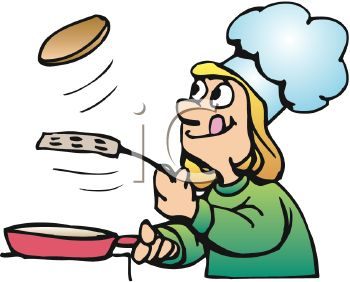 350x282 Royalty Free Clip Art Image Cartoon Of A Girl Making Pancakes