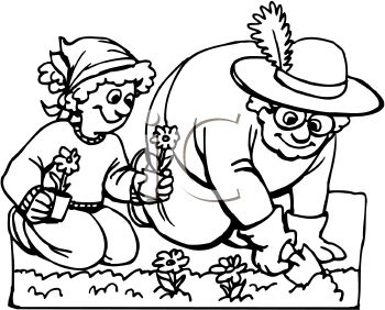 350x282 Garden Clipart Black And White