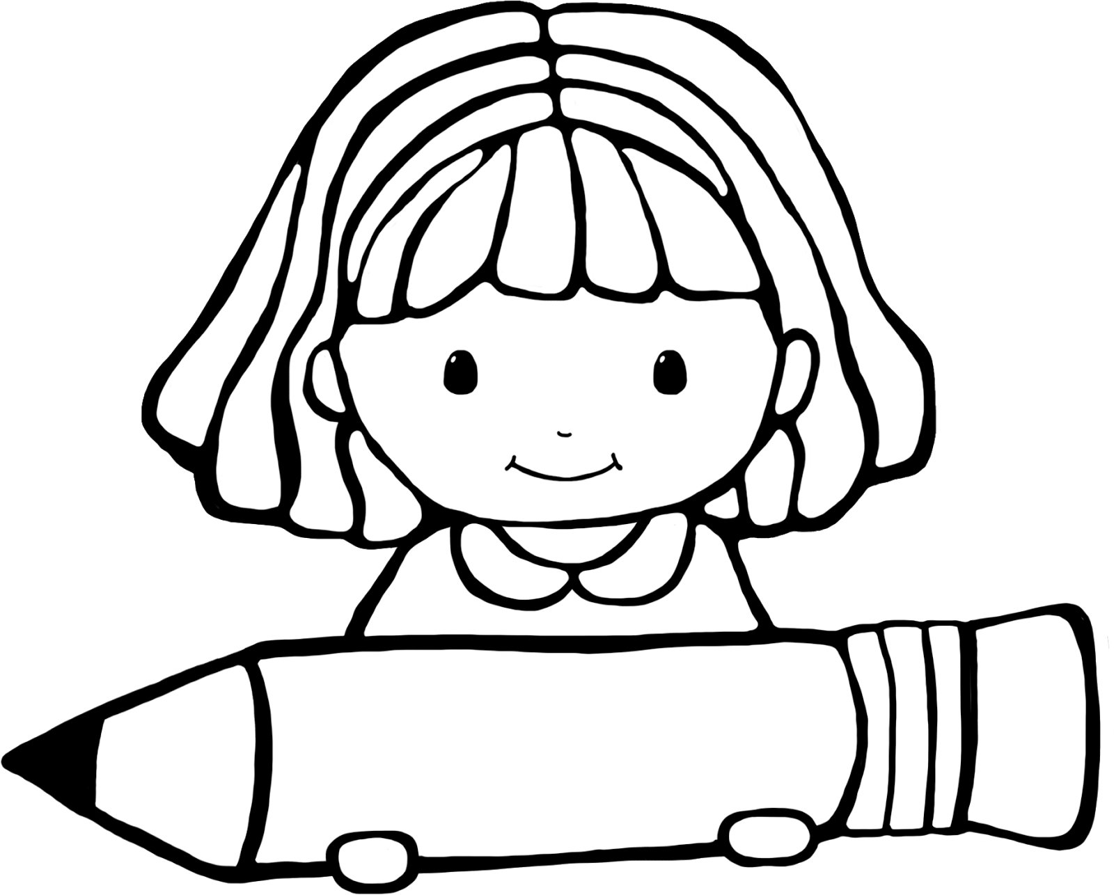 1600x1286 Girl Writing Clipart Black And White