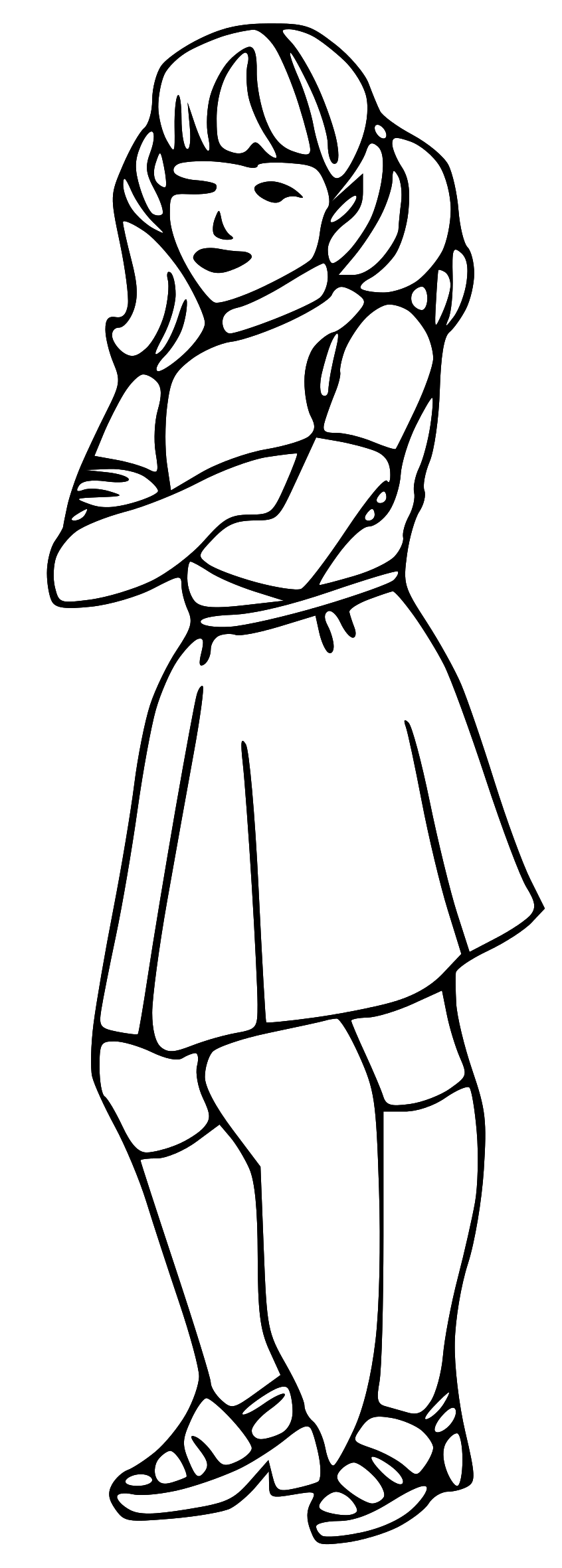 846x2362 girl black and white clip art
