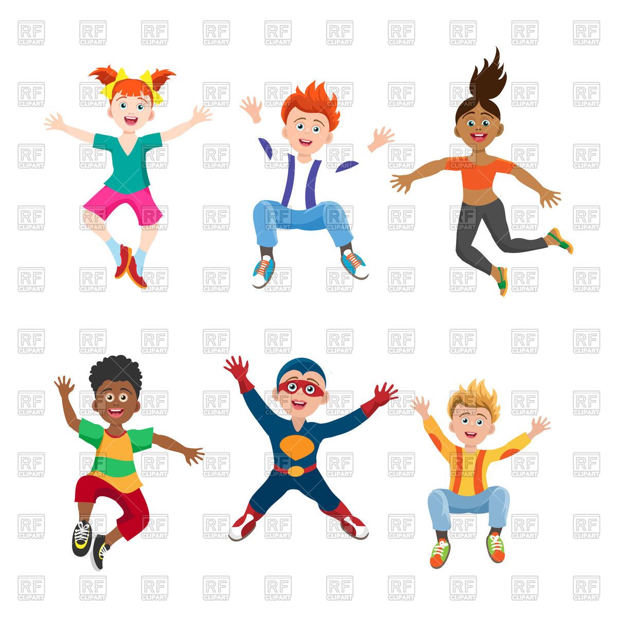 1200x1200 Happy Jumping Girls And Boys Royalty Free Vector Clip Art Image