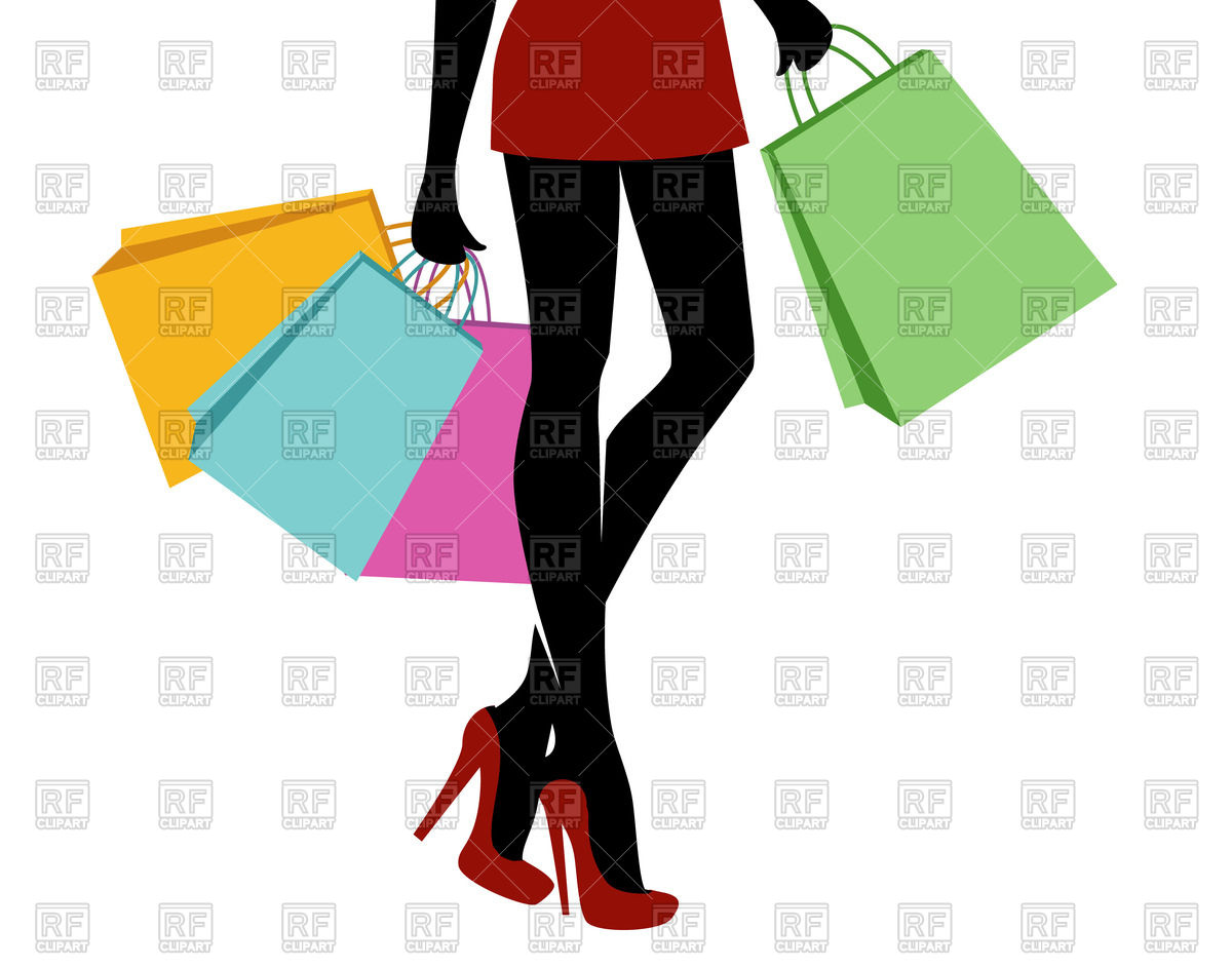1200x942 Shopping Girl With Bags Royalty Free Vector Clip Art Image