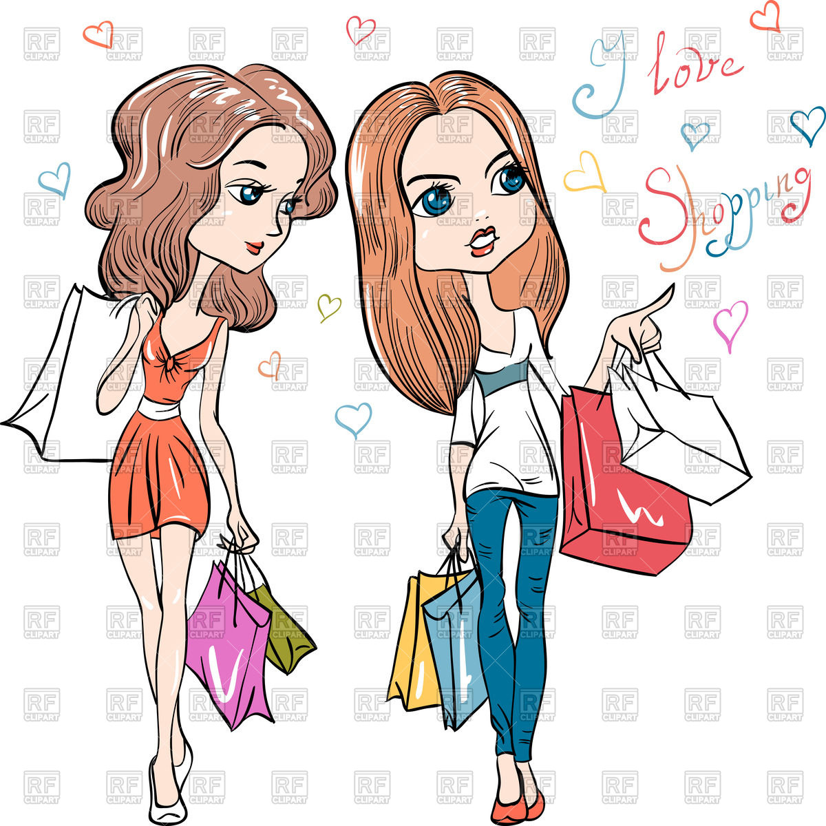 1200x1200 Cartoon Fashion Girls With Shopping Bags Royalty Free Vector Clip