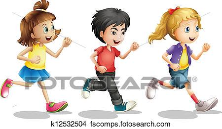 450x261 Clipart Of Kids Running K12532504