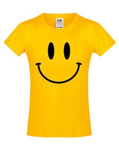 240x300 Smiley Face Girls T Shirt 3 13 Years Yellow Funny Printed Rave 80s