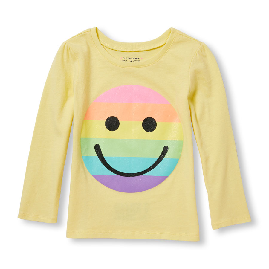 900x900 Toddler Girls Long Sleeve Glitter Rainbow Smiley Face Graphic Tee