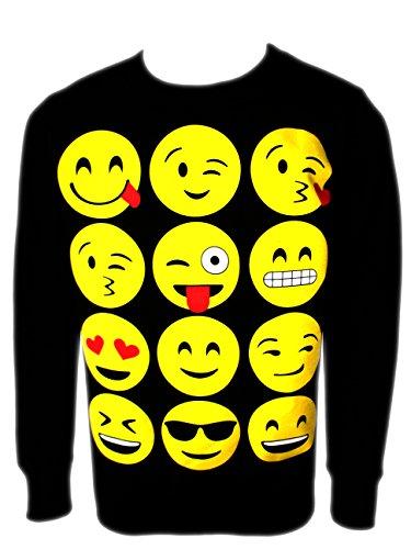 375x500 Ael Girls Emoji Sweatshirt New Kids Emoticons Smiley Face Jumper