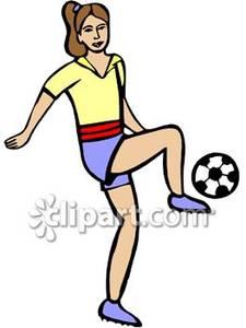 225x300 Girl Hitting Soccer Ball Clipart