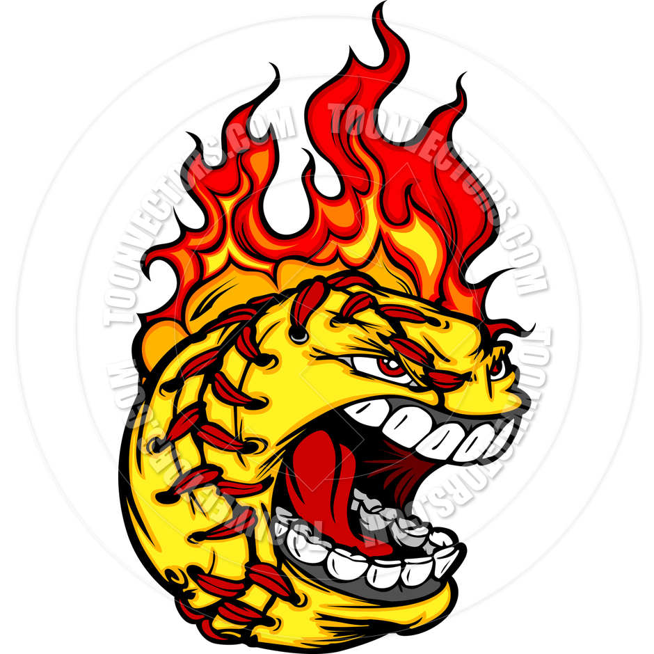 940x940 Softball On Fire Clip Art Fast Pitch Softball Face With Flaming