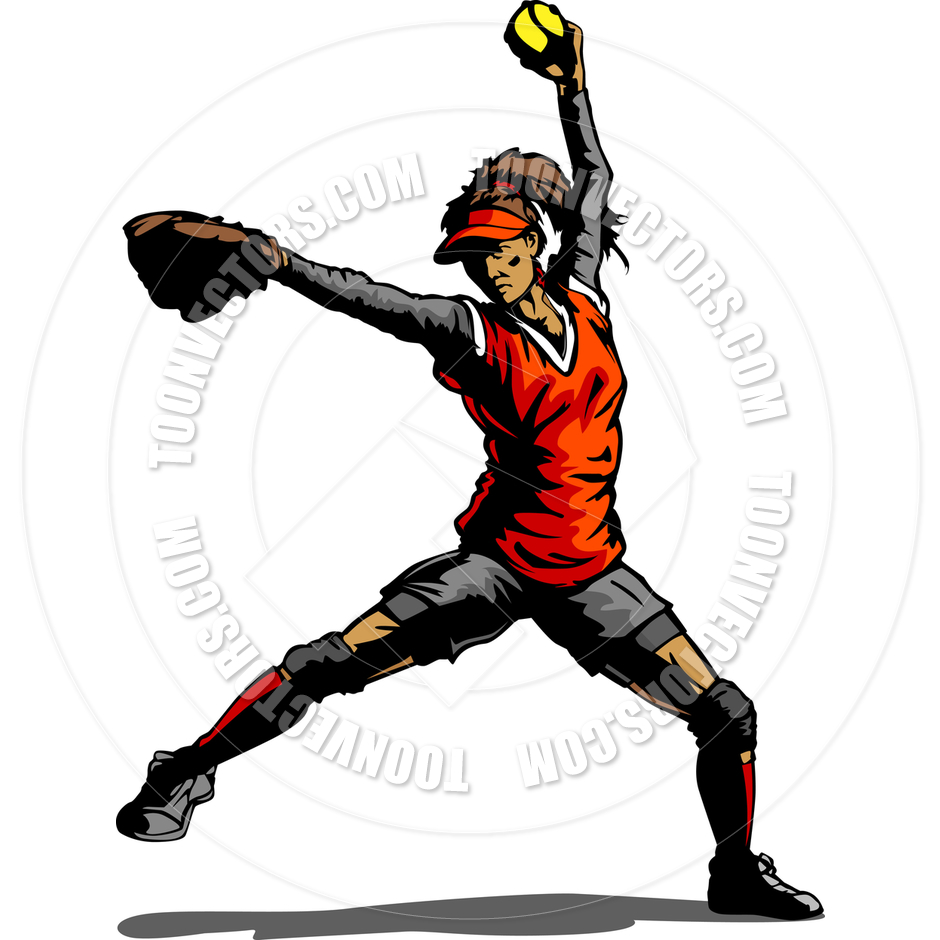 940x940 Fast Pitch Softball Pitcher Vector Illustration By Chromaco Toon