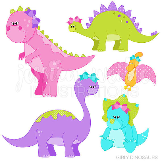 570x570 Girly Dinosaurs Cute Digital Clipart Commercial Use Ok