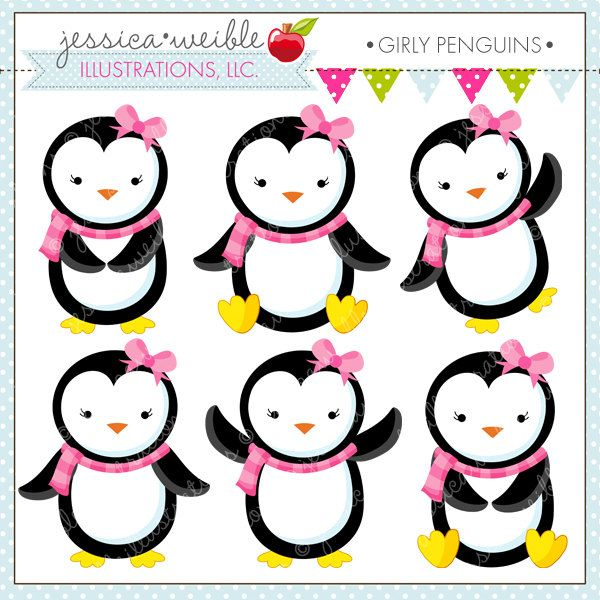 600x600 Girly Penguins Clipart Set Comes With 6 Cute Penguins With Pink