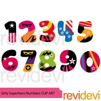 350x350 Girly Superhero Numbers Clipart By Revidevi Teachers Pay Teachers