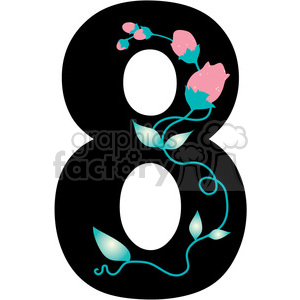 300x300 Royalty Free Number 8 Girly 388593 Vector Clip Art Image