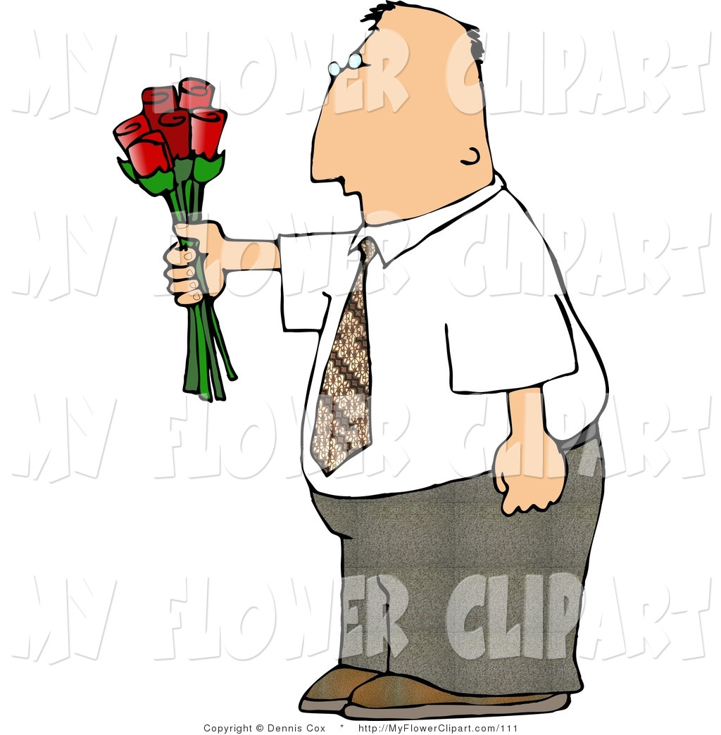 1024x1044 Clip Art Of A Businessman Giving Flowers By Djart