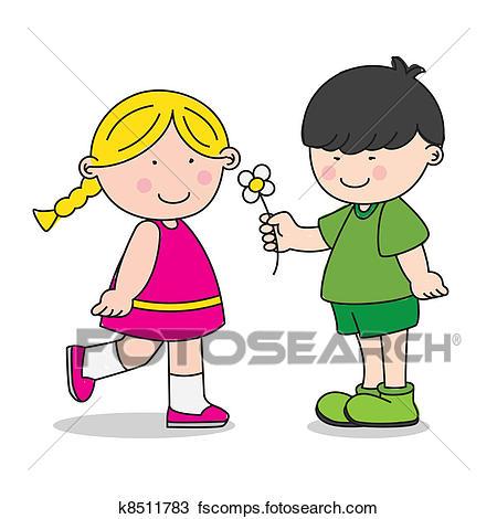450x470 Clipart Of Boy Giving A Girl A Flower K8511783