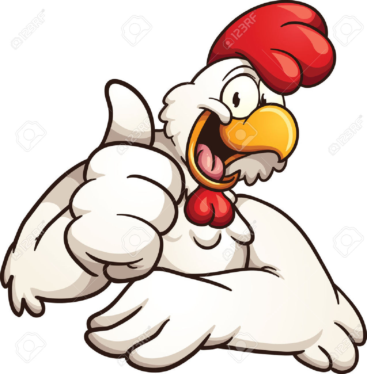 1274x1300 Cartoon Chicken Giving The Thumbs Up. Vector Clip Art Illustration