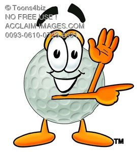 270x300 Illustration Of A Golf Ball Cartoon Character Giving Directions