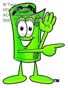 232x300 Illustration Of A Rolled Money Cartoon Character Giving Directions