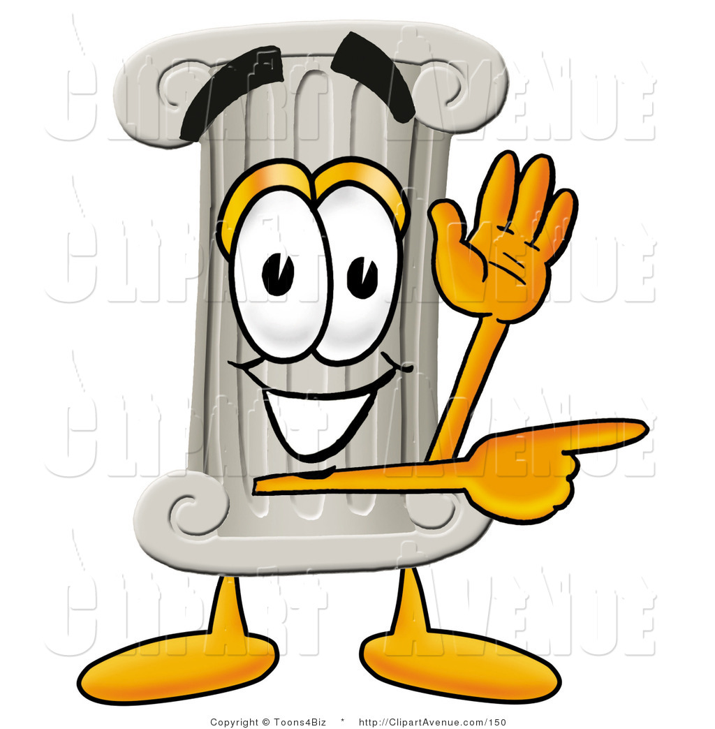1024x1044 Avenue Clipart Of A Pillar Mascot Cartoon Character Waving