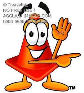 271x300 A Cone Cartoon Character Giving Directions