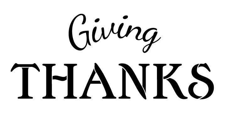 720x360 Giving Thanks Word Stencil