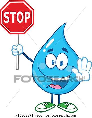 369x470 Clipart Of Water Drop Holding A Stop Sign K15303371
