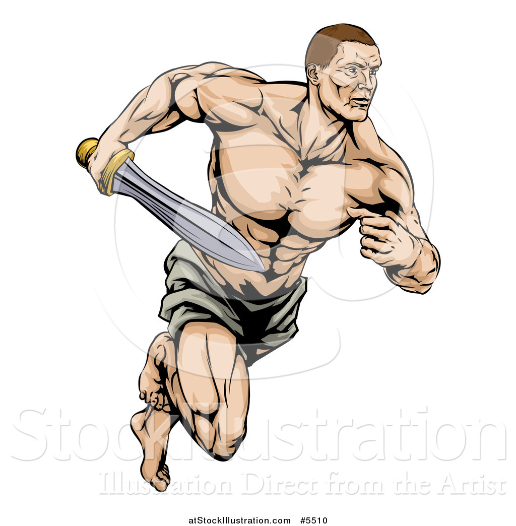 1024x1044 Vector Illustration Of A Muscular Gladiator Running With A Sword