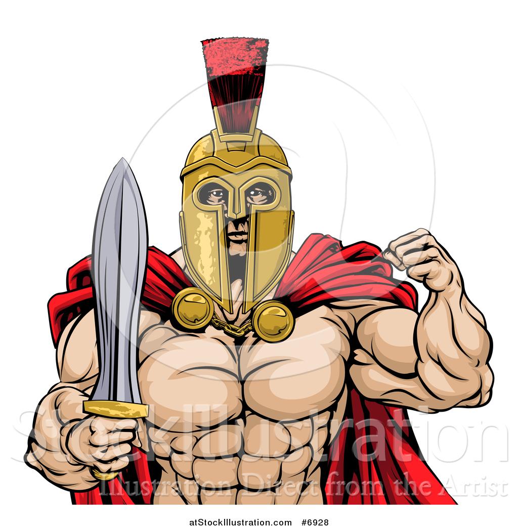 1024x1044 Vector Illustration Of A Shirtless Muscular Gladiator Gladiator