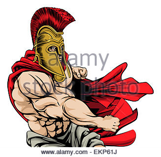 328x320 A Cartoon Illustration Of A Muscular Gladiator In Armor Stock