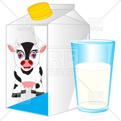 400x399 Carton And Glass With Milk On White Background Royalty Free Vector