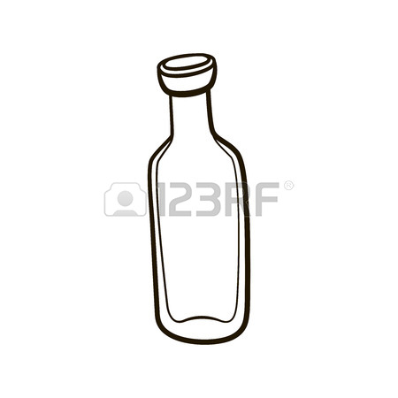 450x450 Empty Old Fashioned Milk Bottle Icon. Hand Drawing Contour