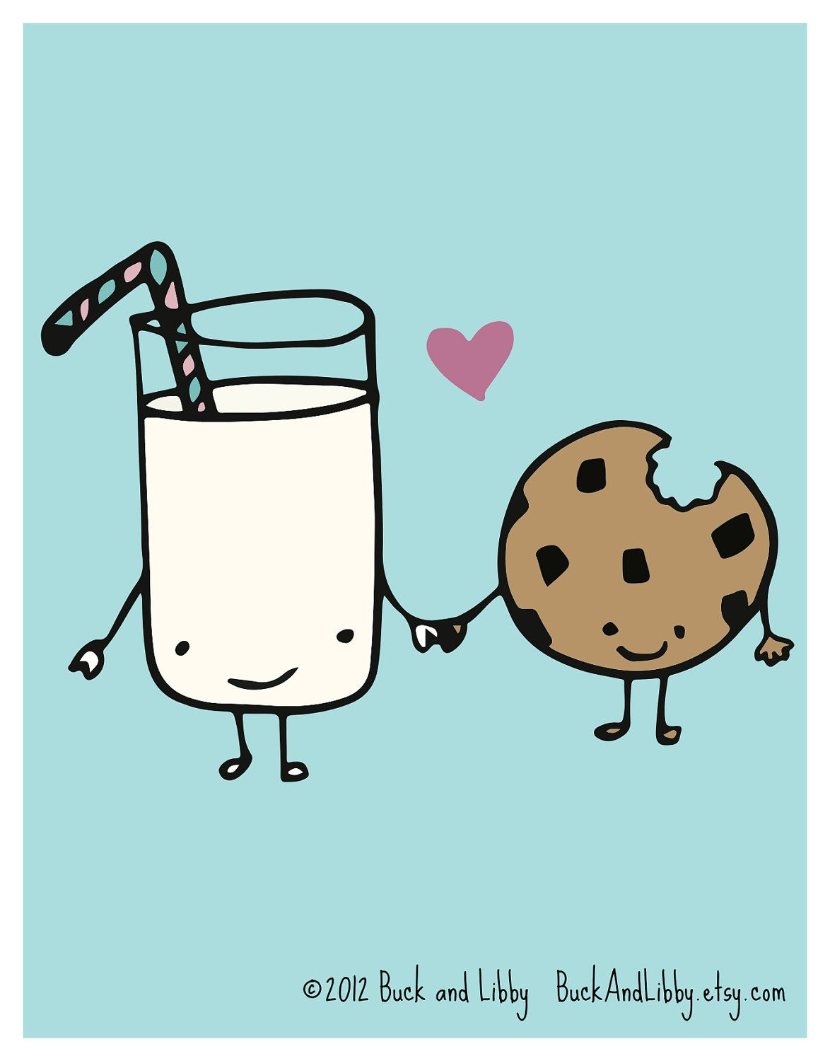 1174x1500 Milk Loves Cookie 85 X 11 Illustration Print By By Buckandlibby