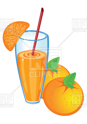 283x400 Glass Of Orange Juice And Fruit Royalty Free Vector Clip Art Image