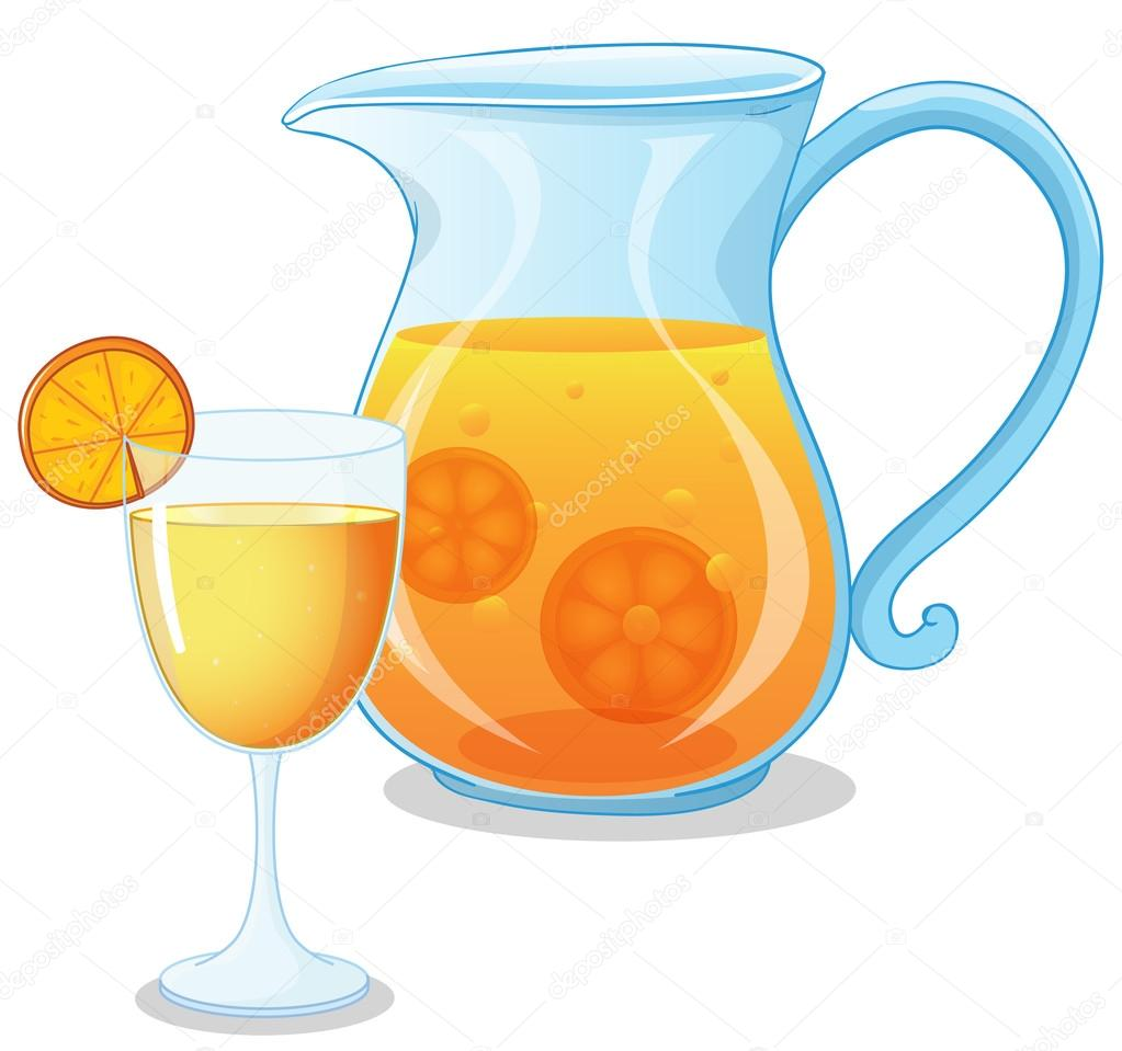 1023x959 A Glass And A Pitcher Of Juice Stock Vector Interactimages
